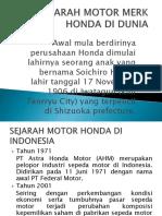 Sejarah Motor Merk Honda Di Dunia
