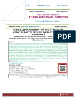 FORMULATION, OPTIMIZATION AND EVALUATION COLON TARGATED DRUG DELIVERY SYSTEM FOR ORNIADAZOLE