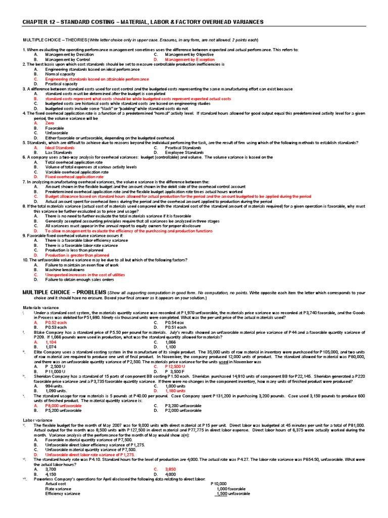 Answer Key - Quiz - Chapter 12 - Mc - All Variances ...