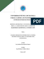 Análisis comparativo Económico de una Vivienda de Estructura de Acero y una de Estructura Convencional