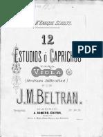 BELTRAN, J. M. -12 Estudios - caprichos Para Viola