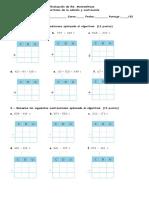 Evaluación de Sumas y Restas 4 Basico