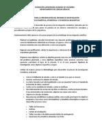 Indicaciones Para La Presentación Del Informe de Investigación - Estadística, Estadística i y Estadística Descriptiva