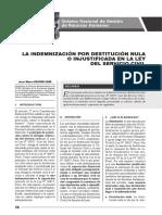 Indemnización Por Destitución Nula o Injustificada en La Ley Del Servicio Civil - Autor José María Pacori Cari