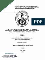 """""""MODELO TÉCNICO ECONÓMICO PARA LA TOMA DE DECISIONES DE RENOVACIÓN DE REDES SECUNDARIAS DE AGUA POTABLE EN LA ZONA NORTE DE LIMA"""""""