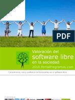 Valoracion del software libre en la sociedad 2010 (PortalProgramas.com)
