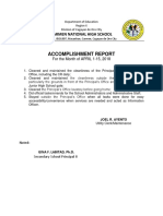 Accomplishment Report Joel Ayento