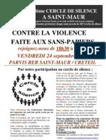 Appel  au 13 ème cercle de silence et à l'opposition au projet de loi Besson
