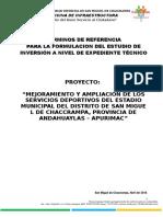 Tdr - Expediente Tecnico - Estadio Chaccrampa
