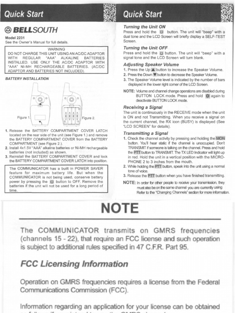 Bellsouth 2231 frs gmrs radio instructions | Electromagnetic