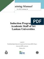 Training Manual on Induction Programme for Academic Staff of Sri Lankan Universities