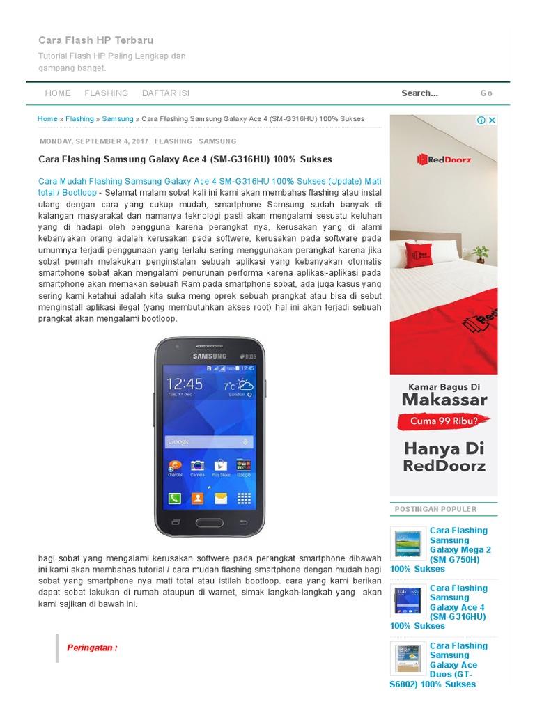 Cara Flashing Samsung Galaxy Ace 4 Sm G316hu 100 Sukses Mega 2 G750h Flash Hp Terbaru