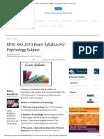 KPSC KAS 2013 Exam Syllabus for Psychology Subject - Careerindia