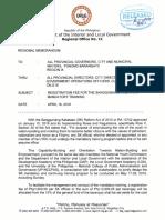DILG IX Regional Memo Re Registration Fee for SK Mandatory Trng