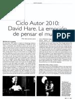Ciclo Autor 2010. David Hare. La Emoción de Pensar El Mundo.