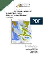 NI-43-101 Bongara Zinc Project Rio Cristal Resources