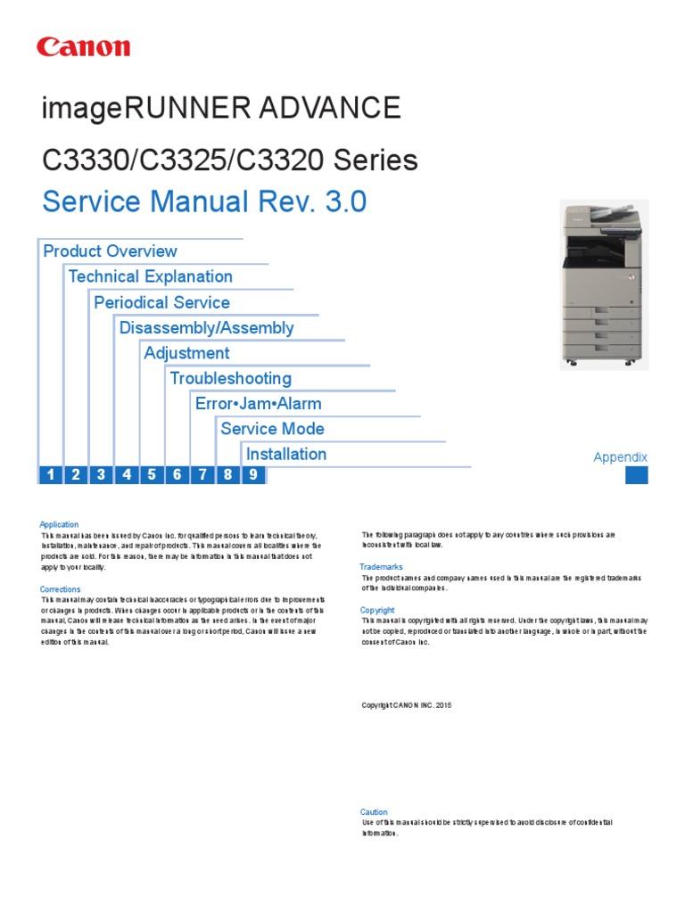 canon printer service manual imagerunner advance c3325 series pdf rh es scribd com Canon Camera Manuals PowerShot Canon Camera Repair Manual