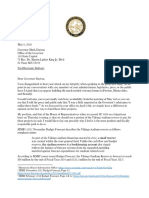 Chair Sarah Anderson Letter to Governor Dayton