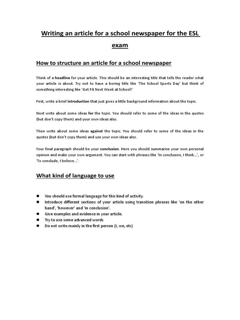 Esl school article examples write competitive advantage business plan