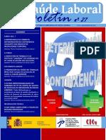 Boletin CIG Saude Laboral Nº 27. Version Galego