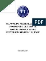 Manual de Presentación de Protocolo de Tesis de Posgrado Del Centro Universitario Hidalguense