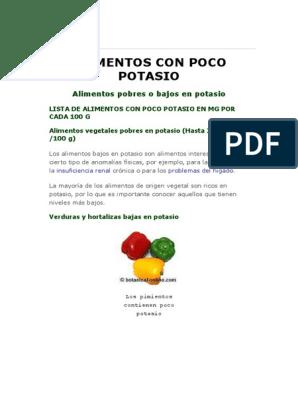 Lista de alimentos bajos en potasio pdf
