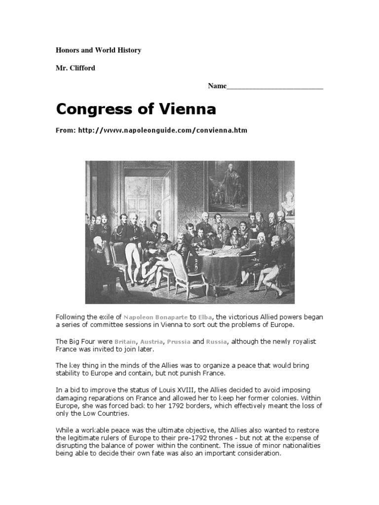 Congress Of Vienna Worksheet Napoleon 2nd Millennium Conflicts