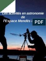 activités astronomie de l'Espace Mendès France