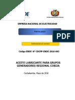 Formularios Aceite Lubricante Para Grupos Generadores Regional Cobija