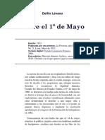 Sobre El Primero de Mayo, Delfín Lévano, 1913
