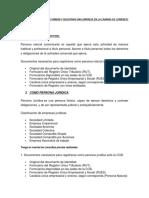 Requisitos Camara de Comercio