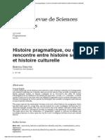 Histoire Pragmatique, Ou de La Rencontre Entre Histoire Sociale Et Histoire Culturelle