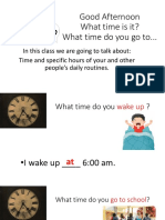 13th Lesson, Hours, Daily Routine Questions