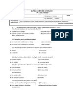 Evaluación de Lenguaje Los Sueños de Bartolo