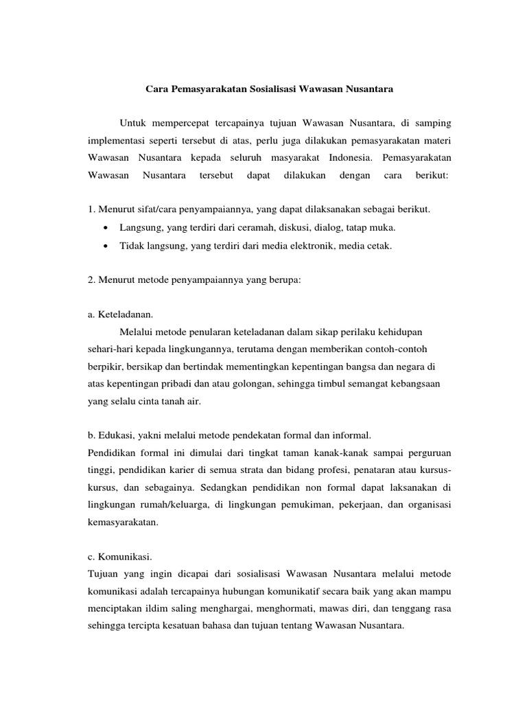 Cara Pemasyarakatan Sosialisasi Wawasan Nusantara