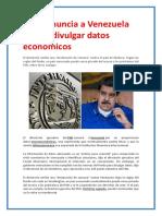 FMI Denuncia a Venezuela Por No Divulgar Datos Económicos