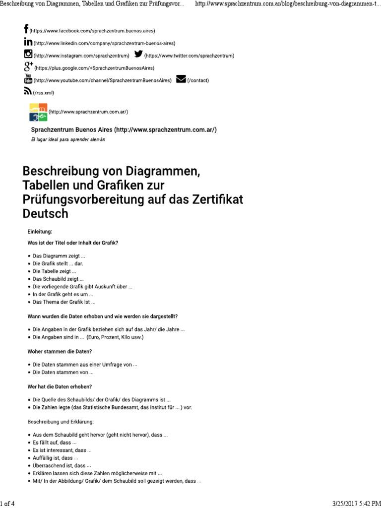 Beschreibung Von Diagrammen Tabellen Und Grafiken Zur