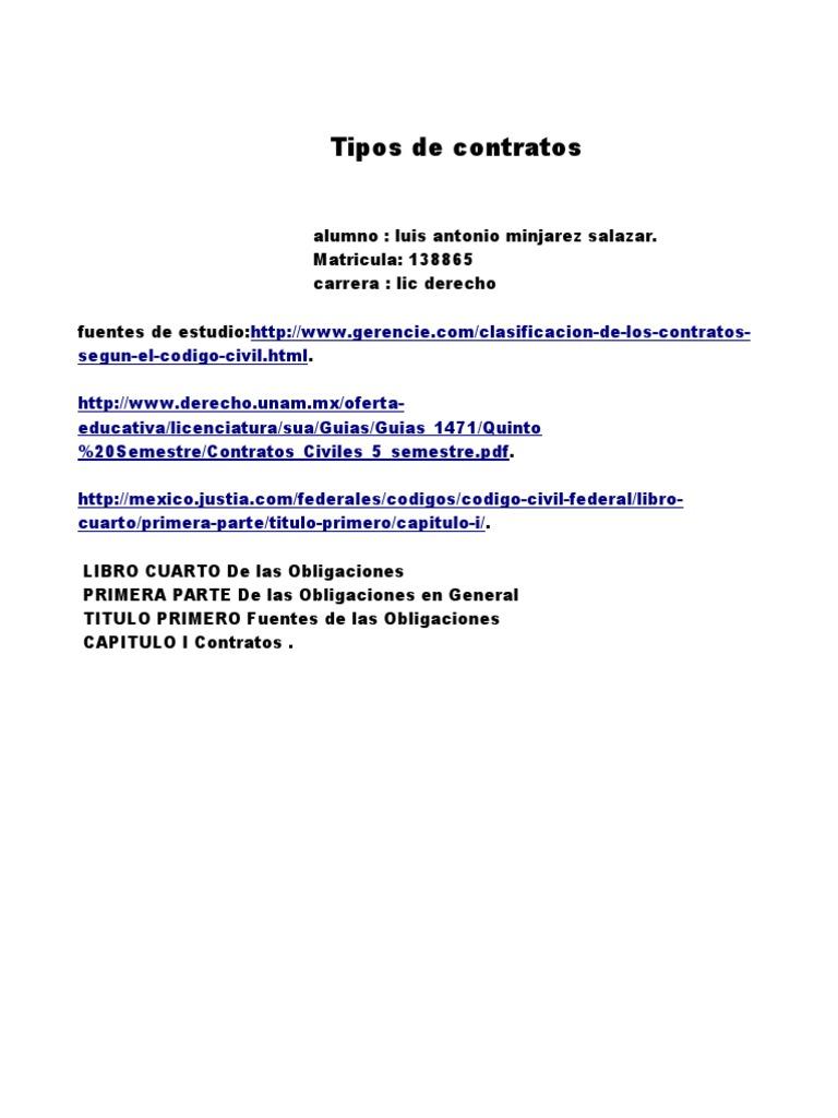 contratos tarea.odt | Derecho Civil (Sistema Jurídico ...