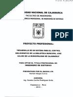 """""""DESARROLLO DE UN SISTEMA PARA EL CONTROL BIBLIOGRÁFICO DE LA BIBLIOTECA MUNICIPAL JOSÉ GÁLVEZ DE LA MUNICIPALIDAD DE CAJAMARCA"""