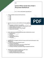 2. Soal Uji Kompetensi Pilihan Ganda Kelas XI Bab 7. Masyarakat Multikultural