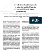 Working paper- Selección de un lugar óptimo para vacacionar mediante la utilización del modelo Analytic Hierarchy Process (AHP) con programación lineal