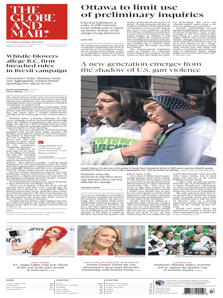 2018-03-26 the Globe and Mail | Donald Trump | United States