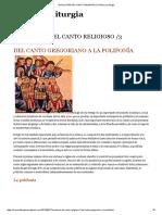 Evolución Del Canto Religioso _3 _ Música y Liturgia