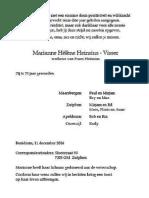 Overlijdensbericht Marianne Hélène Heinsius-Visser