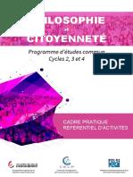 Cours de Philosophie Et de Citoyennete - Programme d Etudes - Cycles 2, 3 Et 4 de l'Enseignement (Ressource 13355)