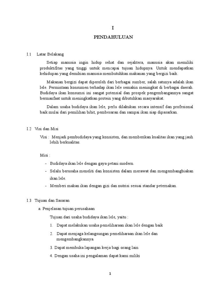 Proposal Usaha Budidaya Lele Business