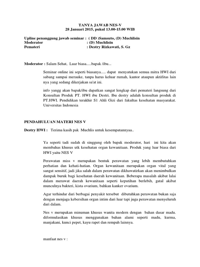 Nes V Original Pt Hwi Obat Keputihan Dan Perawatan Untuk Miss Ramuan Herbal Kesehatan Wanita Tanya Jawab Produk