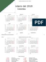 Calendario de Colombia Del 2018 _ ¿Cuándo en El Mundo