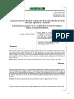 La Gestión Educativa Hacia La Optimización de La Formación Docente en La