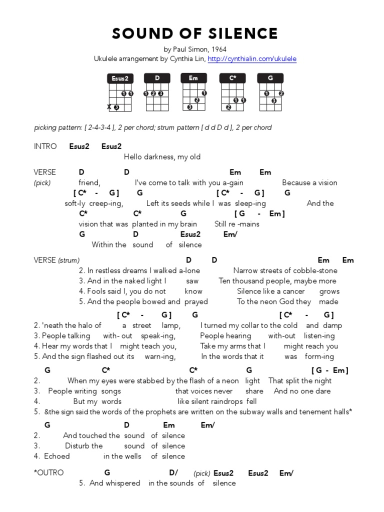 Sound Of Silence Ukulele Chord Chart Song Structure Musical